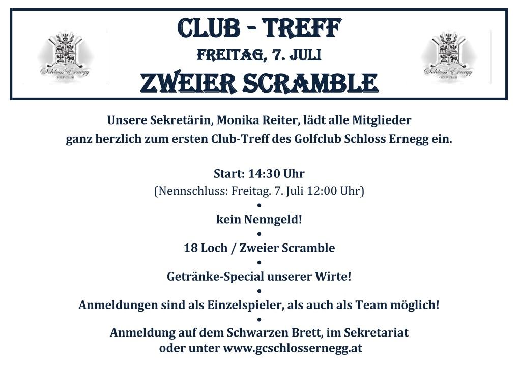 Ausschreibung Club-Treff 2er Scramble